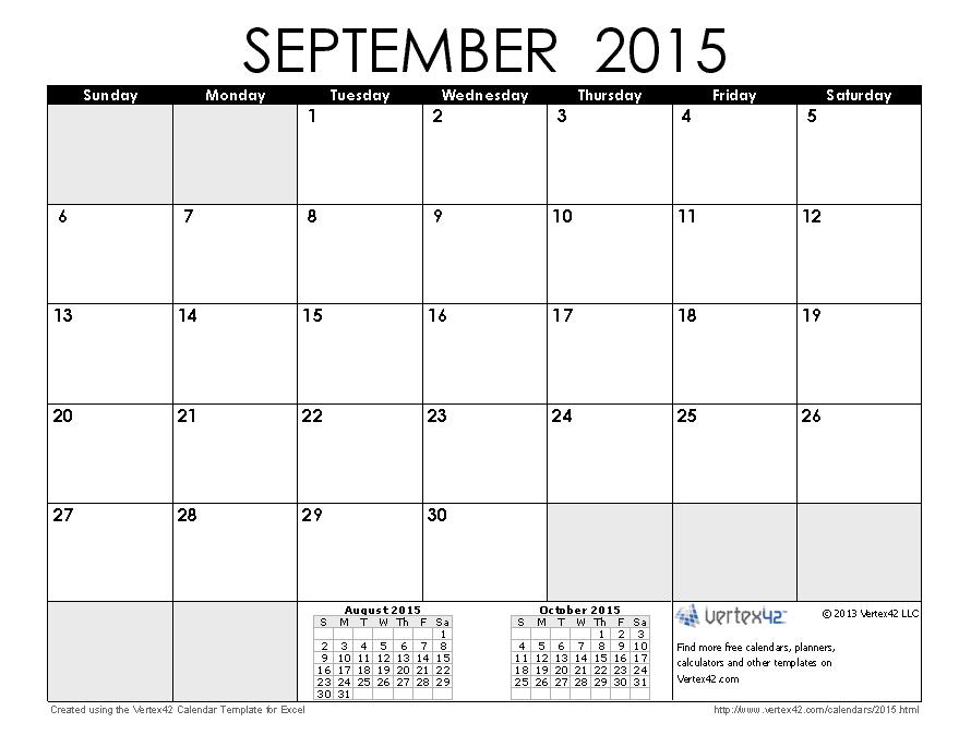 Calendar clipart september 2015 - ClipartFest picture transparent