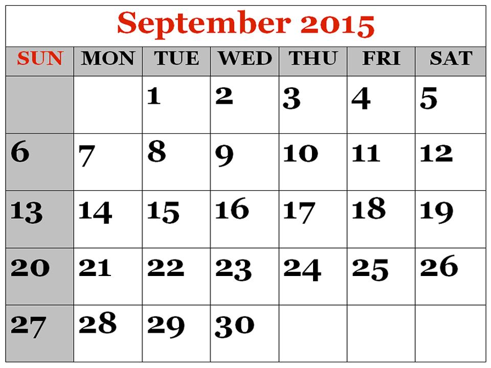 Calendar clipart september 2015 - ClipartFest vector transparent download