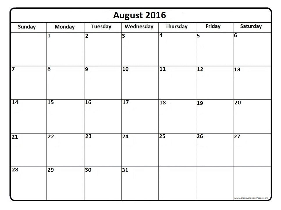 Clipart august 2016 calendar - ClipartFest vector black and white stock