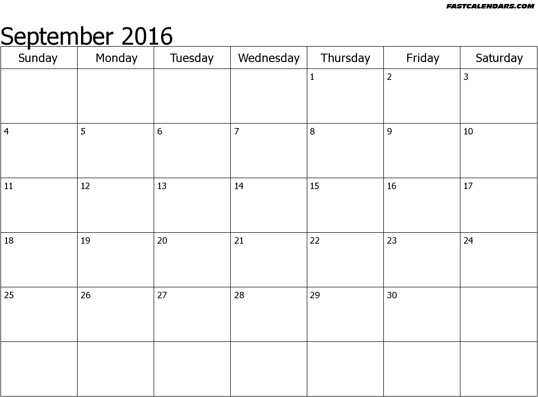 Printable calendar september 2016 with clipart - ClipartFest image transparent download