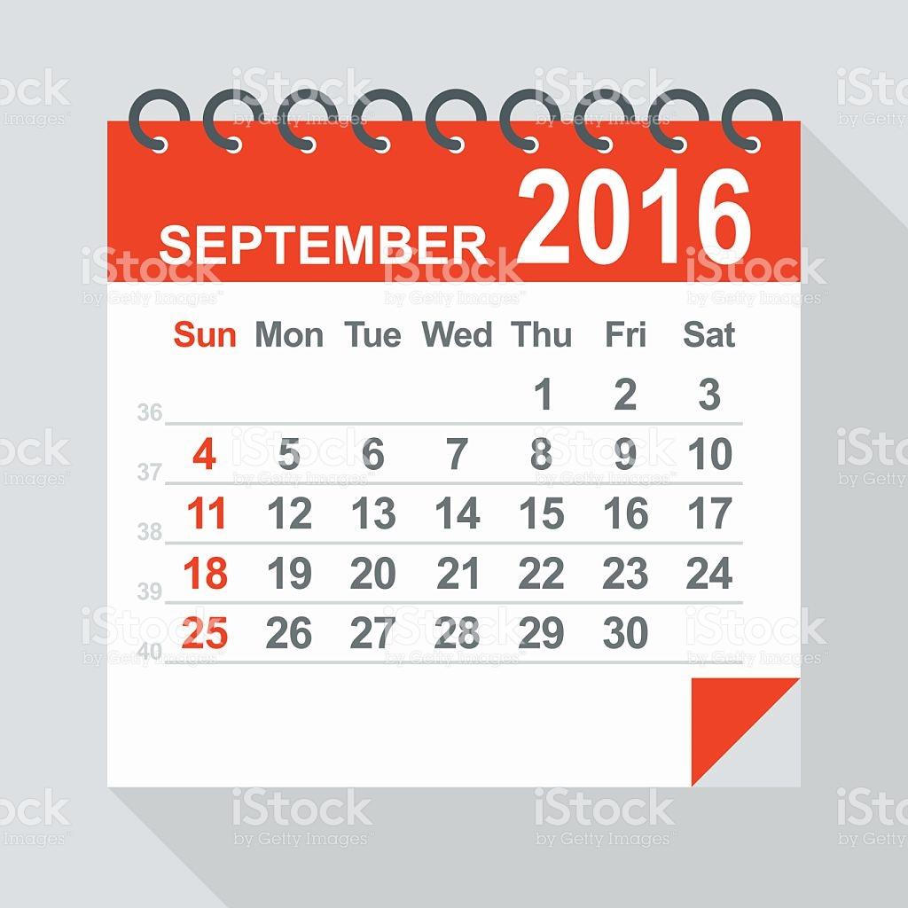 September 2016 Calendar Illustration stock vector art 485427686 ... vector freeuse download