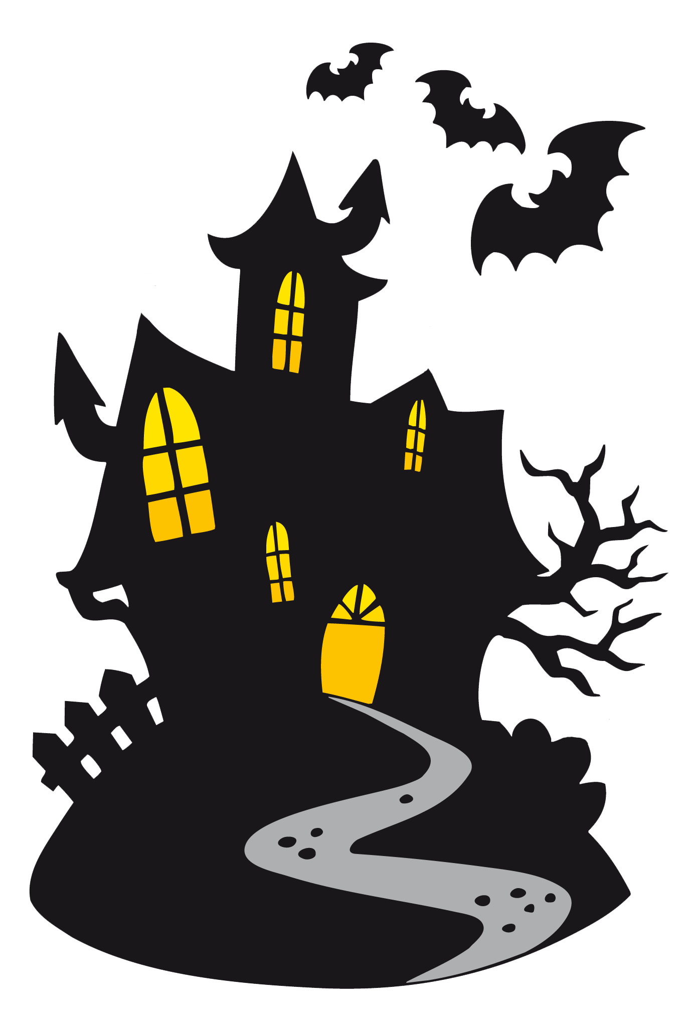 Haunted house clipart images banner black and white library Happy Halloween Clipart Scary | Happy Halloween | Pinterest ... banner black and white library