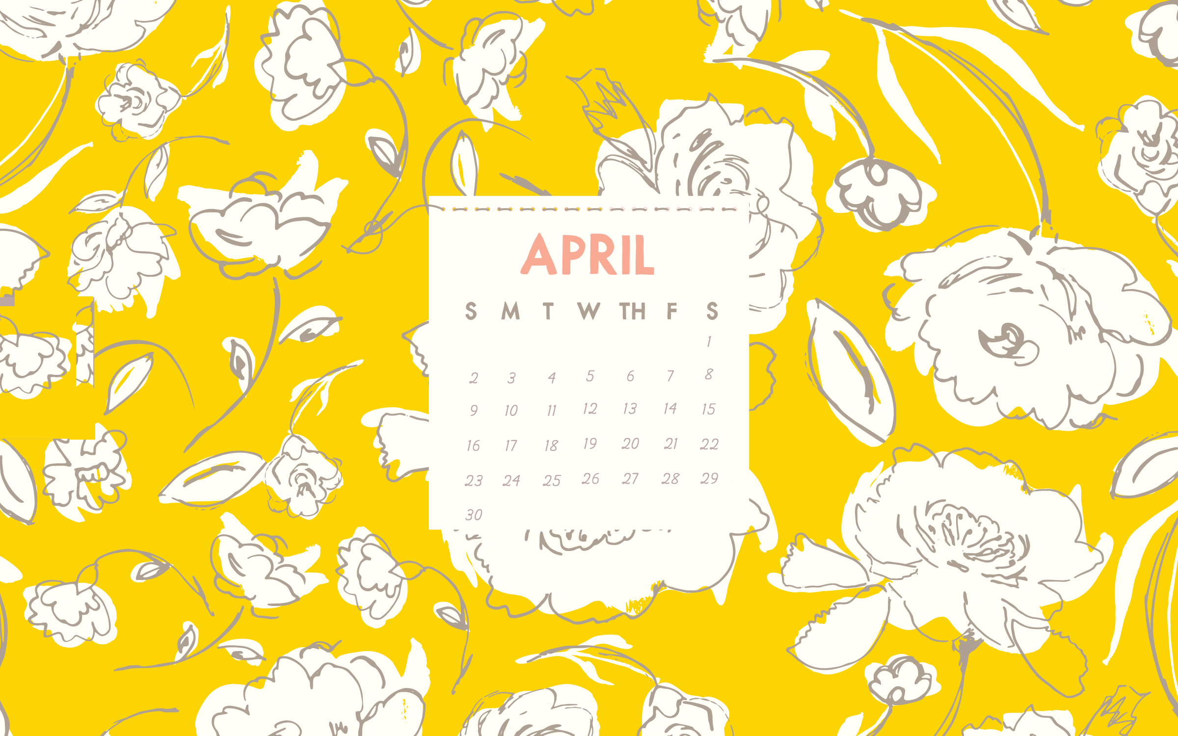 Clipart calendar april 2018