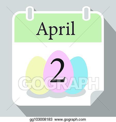 2018 april calendar clipart clip art library library Vector Art - Easter monday wall calendar 2018 april two with pink ... clip art library library