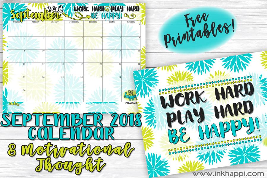 2018 calendar printable lds clipart jpg freeuse stock September 2018 Calendar and Motivational Print - inkhappi jpg freeuse stock