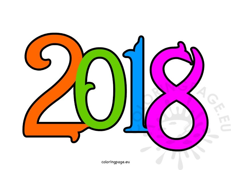 Clipart 2018 image black and white stock Happy new year 2018 clipart – Coloring Page image black and white stock