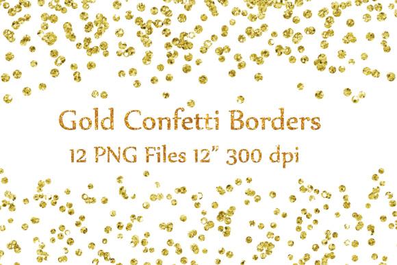 Gold confetti transparent cliparts