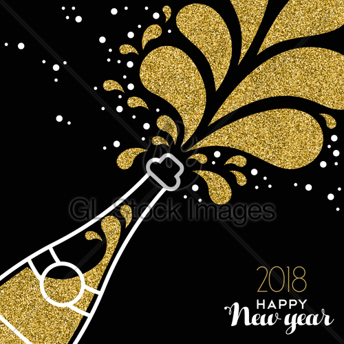 2018 new years eve bottle clipart clip download Happy New Year 2018 Gold Glitter Bottle Splash · GL Stock Images clip download