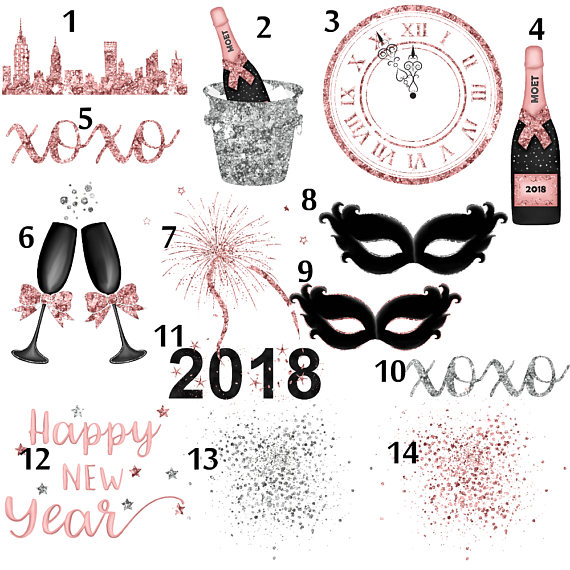 2018 new years eve bottle clipart clip transparent library New years eve, rose gold clipart, silver glitter clip art, fashion ... clip transparent library