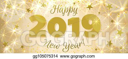 2019 banner clipart jpg transparent library Vector Art - Happy new year 2019 banner. EPS clipart gg105075314 ... jpg transparent library