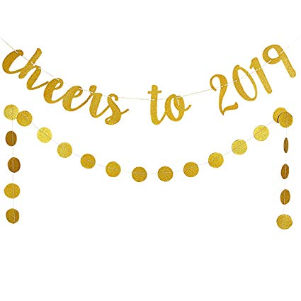 2019 banner clipart vector library Amazon.com: 2019 New Year Eve Party Decoration Kit,Gold Glittery ... vector library