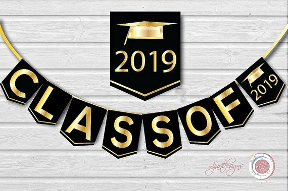 Black and gold 2019 clipart clipart library library Digital Black and Gold Graduation Banner, Class Of, Graduate ... clipart library library