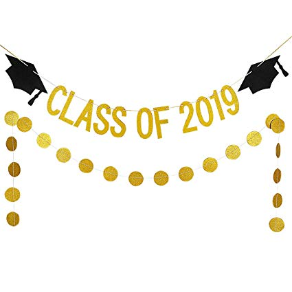 2019 banner clipart svg free library 2019 Graduation Party Decorations,Gold Glittery Class Of 2019 Graduation  Banner and Gold Glittery Circle Dots Garland- Graduation Party Decorations svg free library