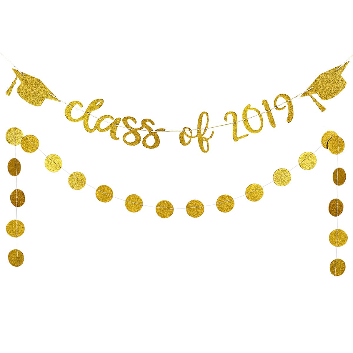 2019 banner clipart image black and white 2019 Graduation Party Decorations,Gold Glittery Class of 2019 Banners and  Gold Glittery Circle Dots Garland- Graduation/Grad Party Decorations image black and white