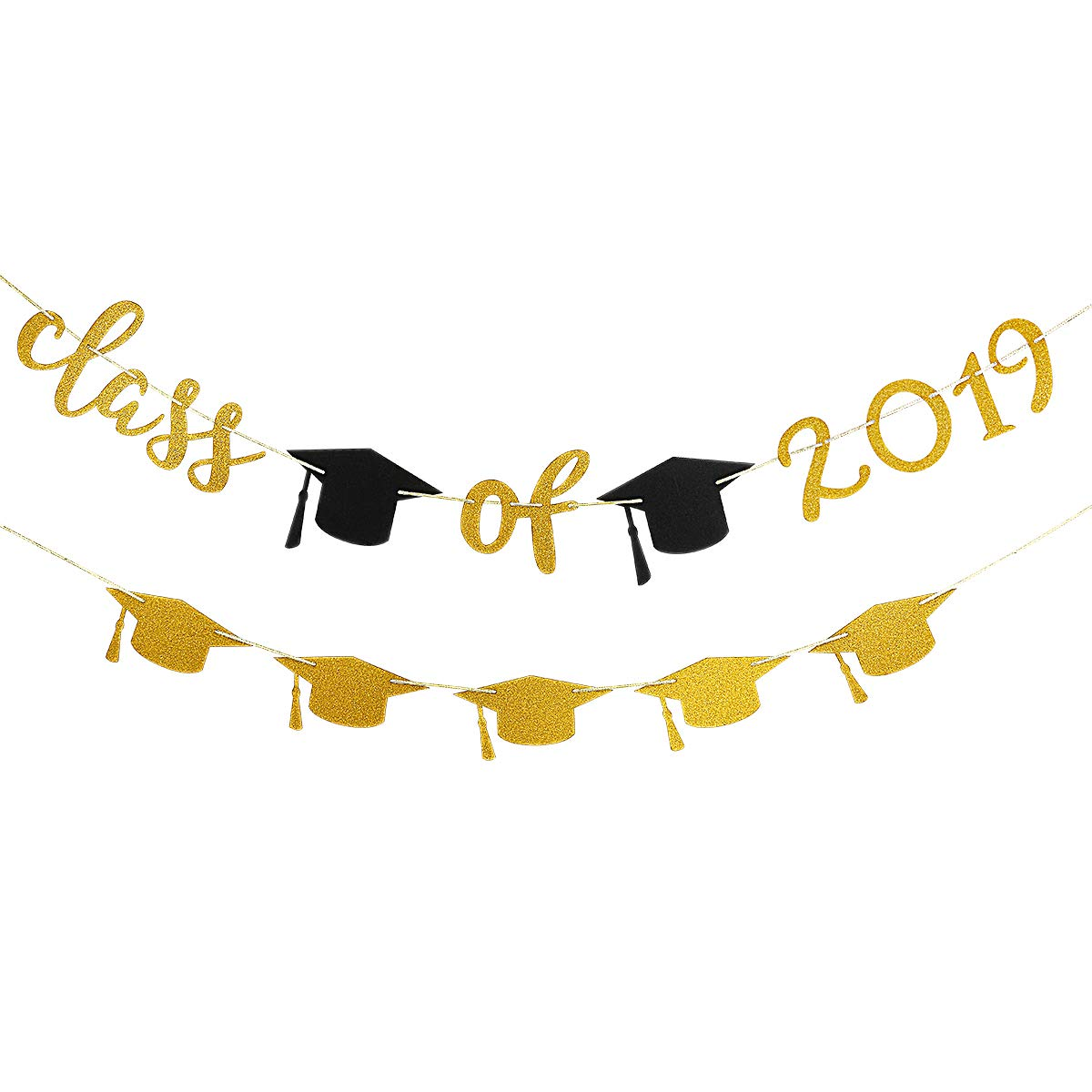 2019 banner clipart image black and white 2019 Graduation Party Decorations,Gold Glittery Class of 2019 Banner and  Gold Glittery Graduation Cap Garland- Graduation/Grad Party Decorations image black and white