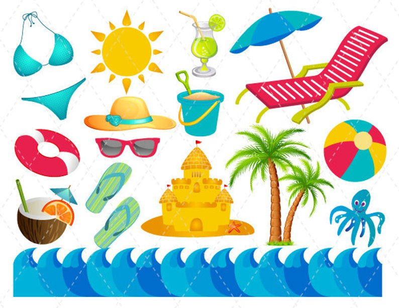 2019 beach vacation clipart royalty free stock Digital Beach Vacation Clip Art Summer Fun Clipart Etsy Cool Quality ... royalty free stock