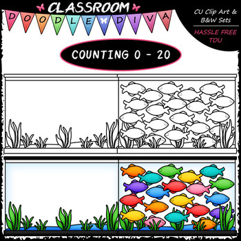 2019 b&w clipart black and white library 0-20) Counting Fish - Sequence, Counting & Math Clip Art & B&W Set ... black and white library