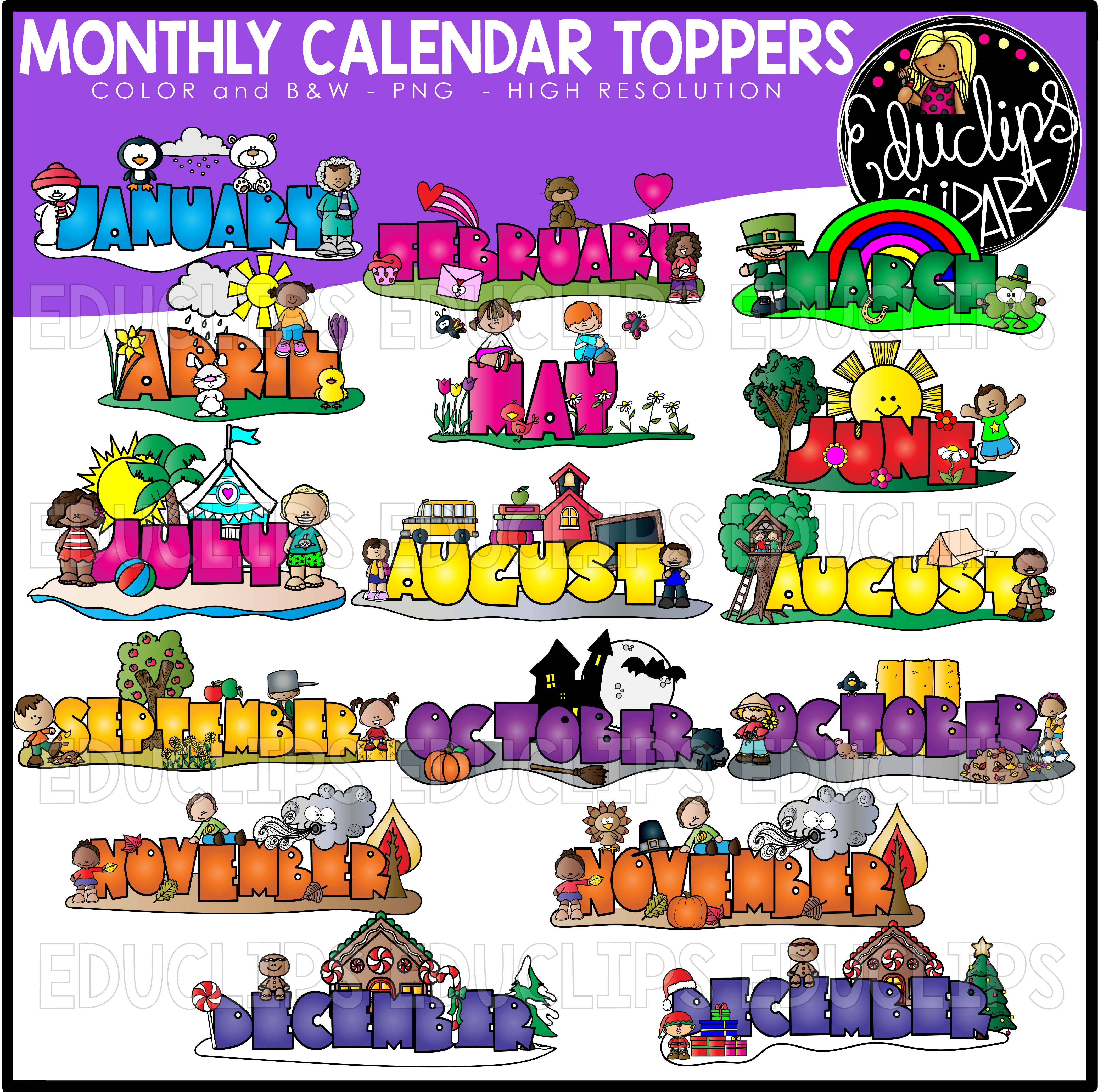 2019 b&w clipart graphic freeuse Monthly Calendar Toppers Clip Art Bundle (Color and B&W) graphic freeuse