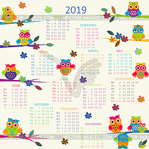 Cartoon calendar clipart graphic free 2019 Calendar with cartoon owls - color vector clipart graphic free