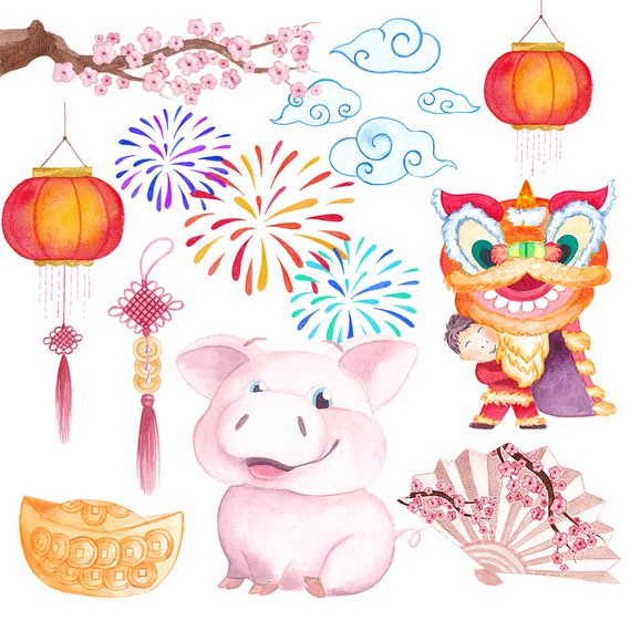 Chinese new year clipart 2019 png free library Chinese New Year clipart Commercial use New year 2019 clipart Pig ... png free library