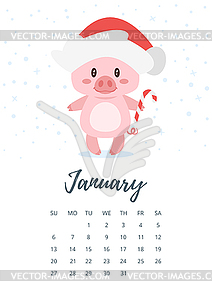 2019 cjanuary calendar clipart jpg library download January 2019 year calendar page - royalty-free vector clipart jpg library download