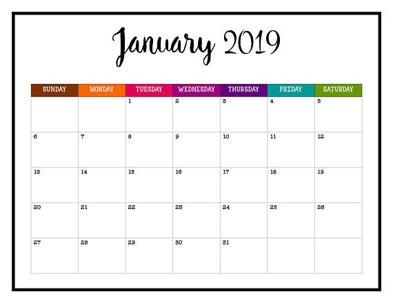 2019 cjanuary calendar clipart svg transparent stock January 2019 Calendar Cute Designs - Free Printable Calendar, Blank ... svg transparent stock