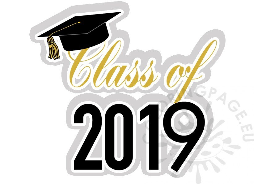 Printable Graduation Class of 2019 clipart – Coloring Page png free library