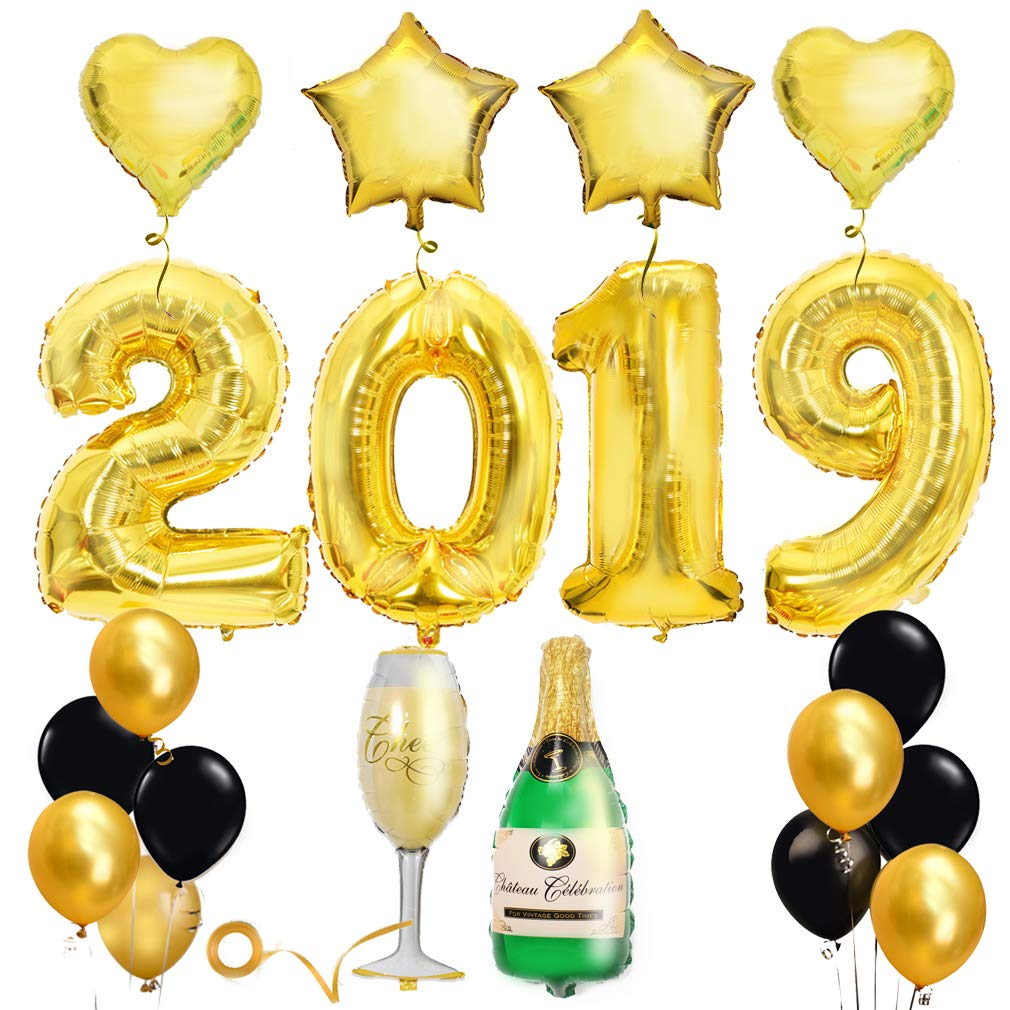 2019 gold balloons clipart picture free Graduation Party Decoration Supplies 2019, Large Gold 2019 Balloons Banner  for Mantle, High School,... picture free