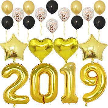 2019 gold balloons clipart clip freeuse stock Amazon.com: 2019 Balloons Gold-Large Kit for Happy New Year Eve ... clip freeuse stock