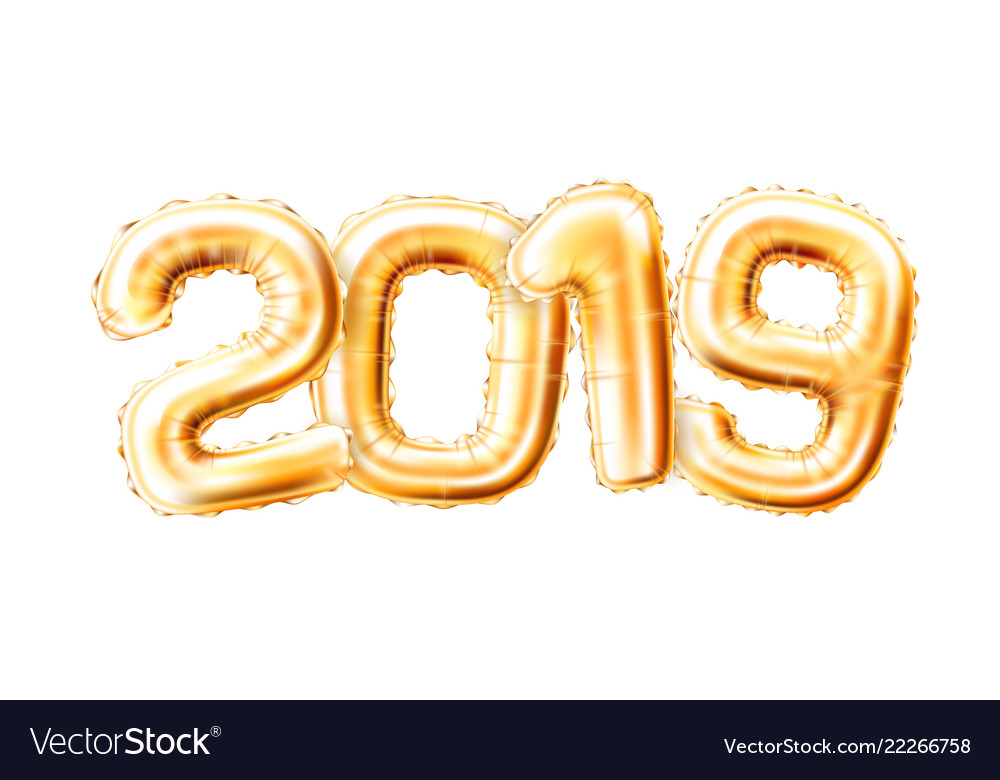 2019 gold balloons clipart clip library stock Realistic 2019 golden air balloons new year clip library stock