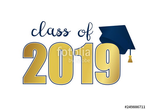 2019 graduation clipart free jpg free download Class of 2019. Gold number and blue education academic cap. Template ... jpg free download