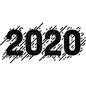 Clipart 2020 vector library black white 2020 new year clipart . Royalty-free clipart # 410032 vector library