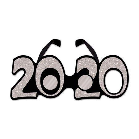 Beistle 50661-20S 2020 Glittered Plastic Eyeglasses, Silver ... banner royalty free