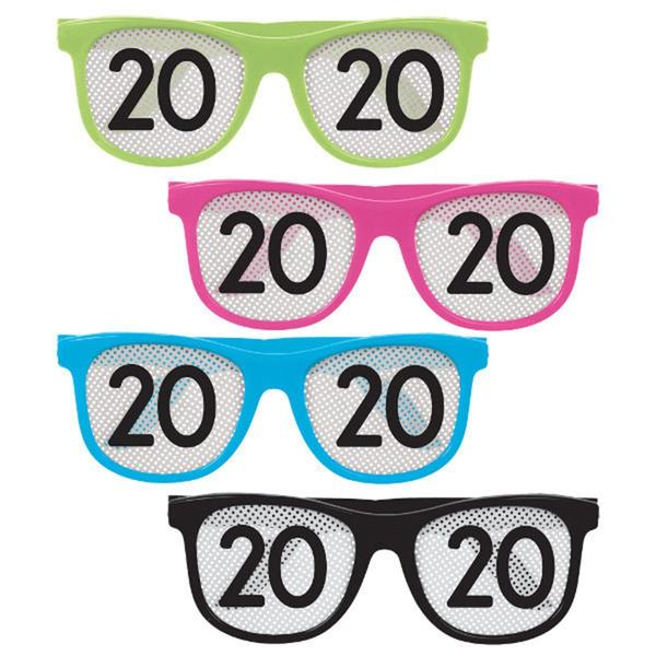 2020 New Year - Plastic Glasses 8/pkg - Color freeuse library