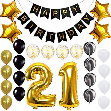 21 gold balloon clipart png transparent Happy 21st Birthday Banner Balloons Set for 21 Years Old Birthday Party  Decoration Supplies Gold Black png transparent