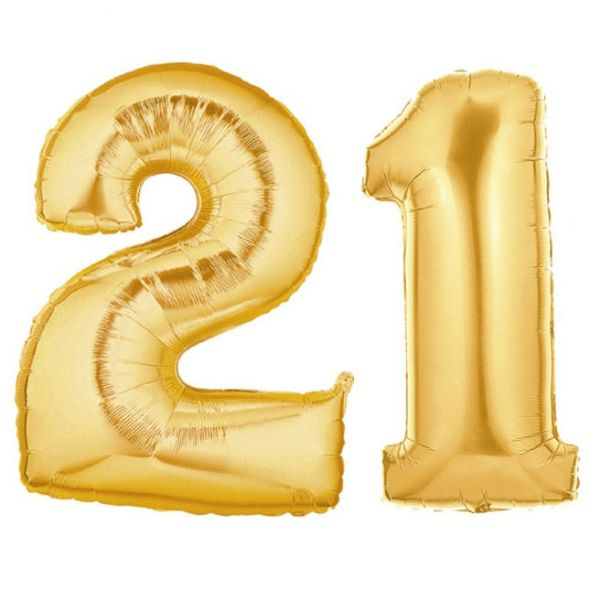 21 gold balloon clipart image freeuse library Foil Balloon - Gold - Number 21 image freeuse library