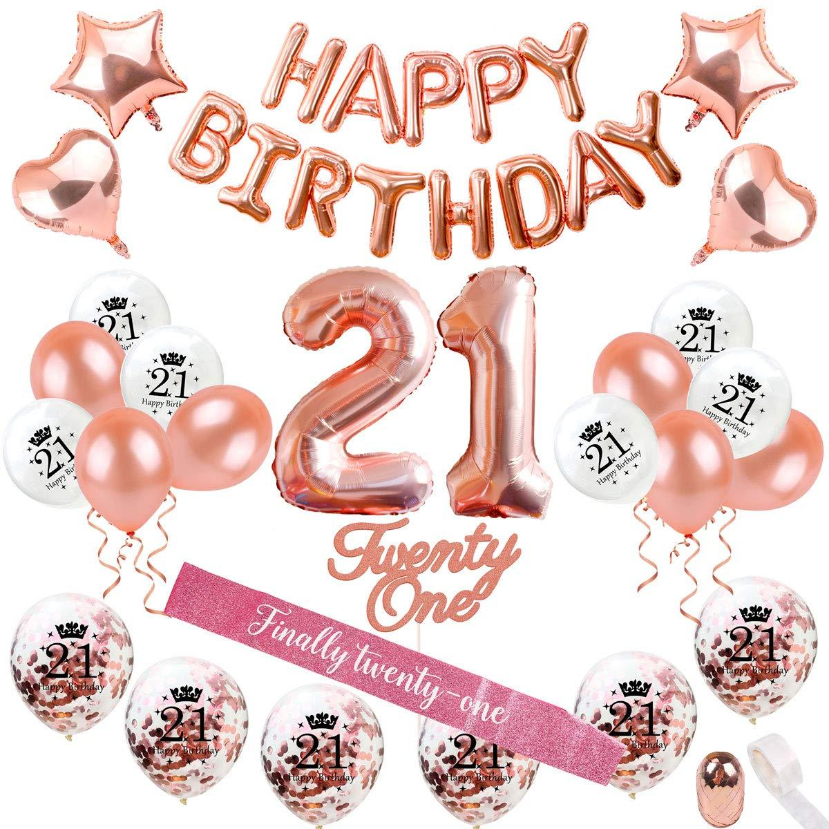 21 gold balloon clipart banner library stock 21st Birthday Decorations Party Supplies Rose Gold 21 Birthday Balloon banner library stock