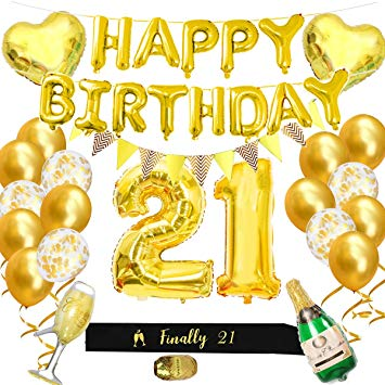 21 gold balloon clipart picture 21st Birthday Party Decorations Kit - Gold Happy Birthday Balloon Banner  and Big Number 21 Balloon,... picture