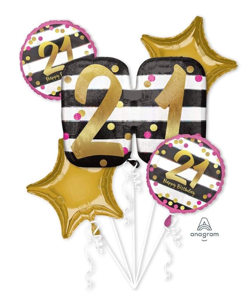 21 gold balloon clipart banner stock Pink & Gold Milestone 21 Balloon Bouquet banner stock