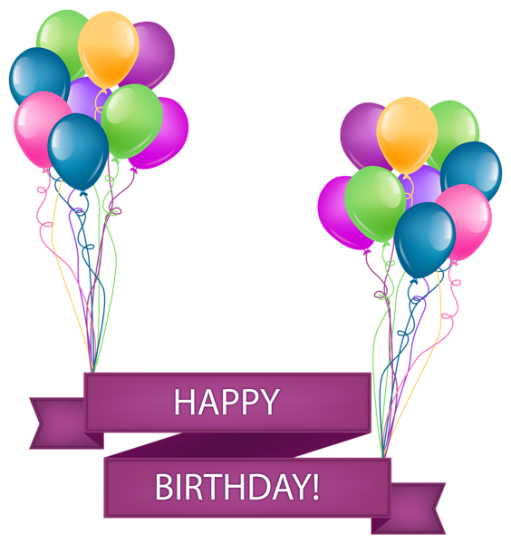 Happy Birthday Banner with Balloons Transparent PNG Clip Art Image ... image download