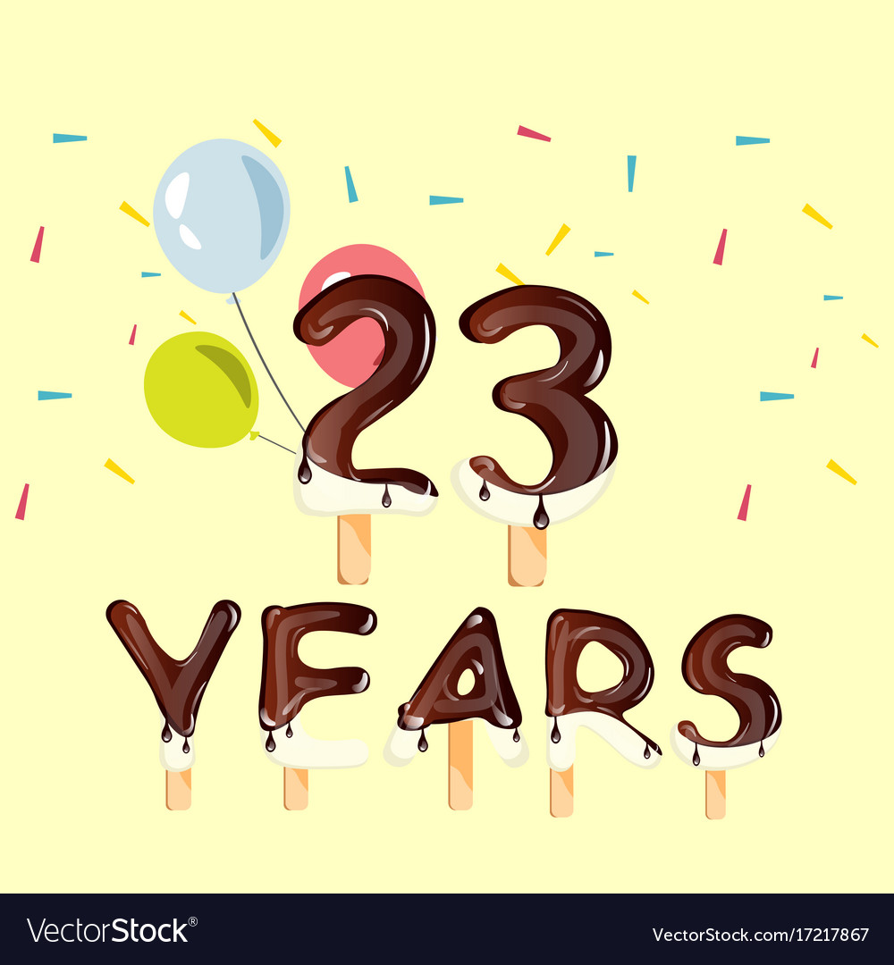 23 birthday free clipart vector black and white library 23 years birthday design for greeting cards vector black and white library