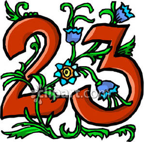 Number 23 With Blue Flowers - Royalty Free Clipart Picture jpg royalty free stock