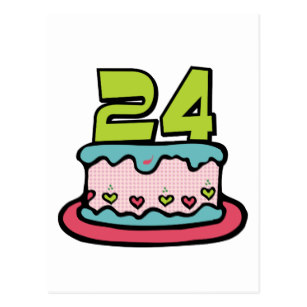 24th birthday clipart picture stock 24 Year Old Birthday Cake Postcard picture stock