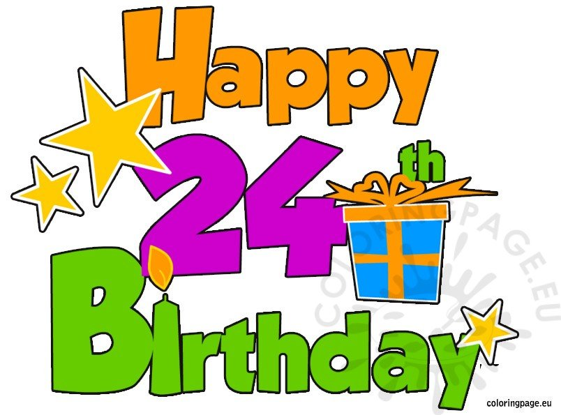 24th birthday clipart jpg black and white Happy 24th Birthday – Coloring Page jpg black and white