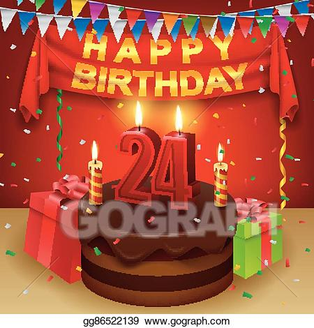 24th birthday clipart jpg royalty free stock Vector Stock - Happy 24th birthday. Clipart Illustration gg86522139 ... jpg royalty free stock