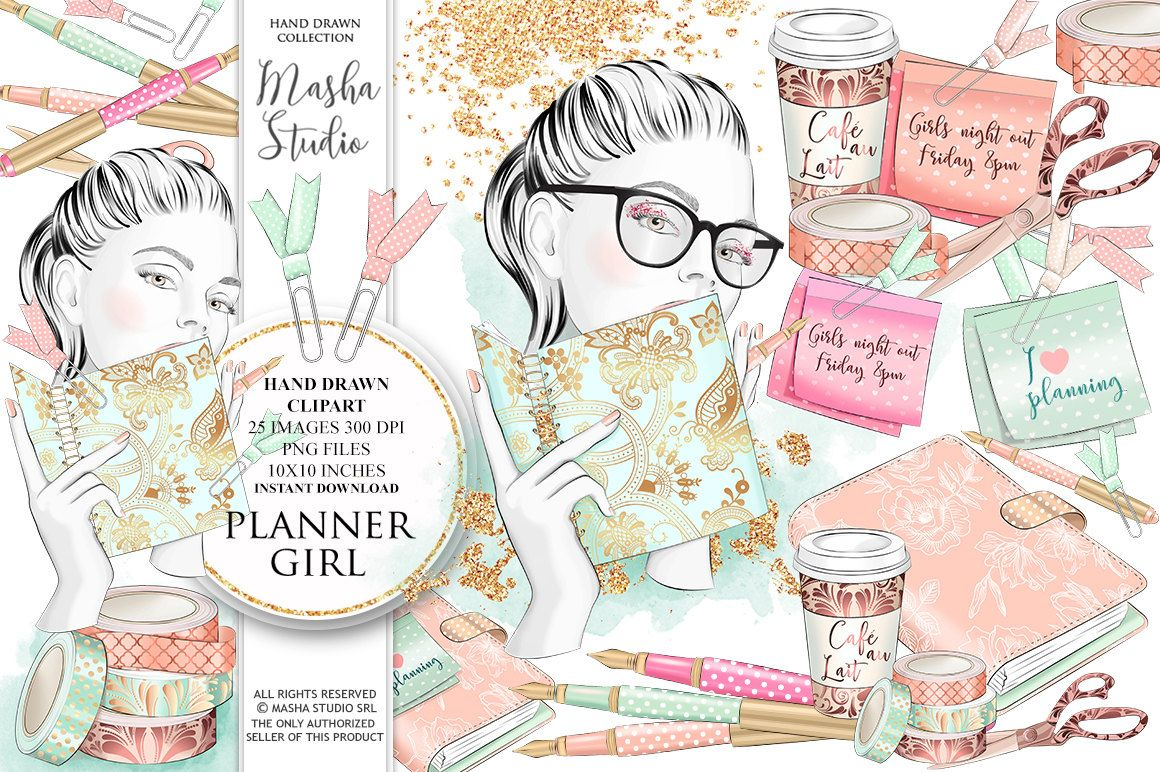 25 clipart girly banner free stock Planner clipart: \