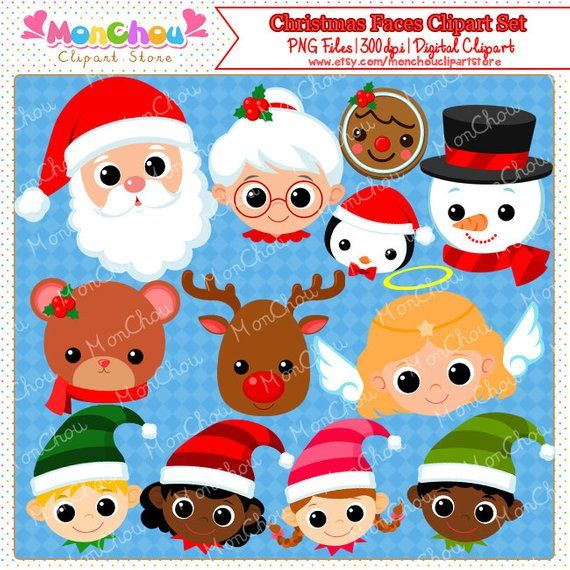25 days of christmas clipart svg royalty free download Christmas Faces Clipart Set - For Commercial and Personal Use ... svg royalty free download