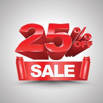 25 percent off clipart jpg free 25 Percent Off Sale Red Ribbon Banner Roll 3d premium clipart ... jpg free
