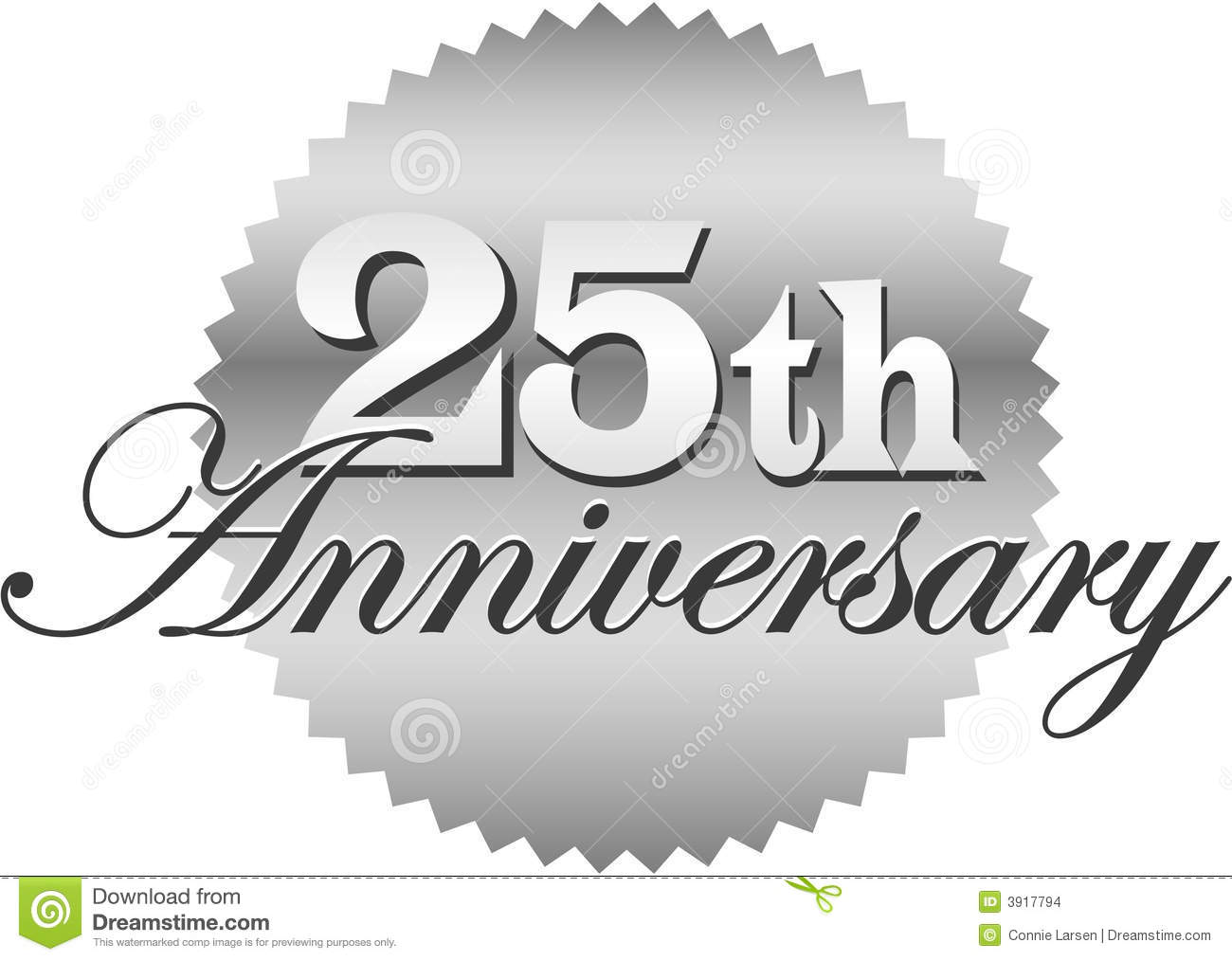 25 year anniversary clipart jpg black and white stock 25th Wedding Anniversary Cake Topper. 25th anniversary banner ... jpg black and white stock
