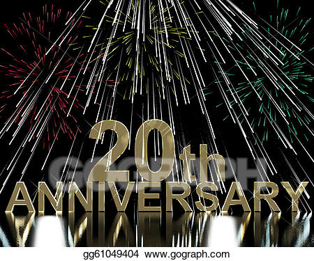 25th anniversary fireworks clipart svg black and white Stock Illustration - Gold 20th anniversary with fireworks for ... svg black and white